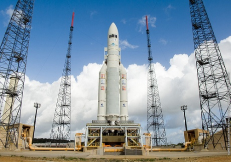 Ariane V on the launch pad with two satilites