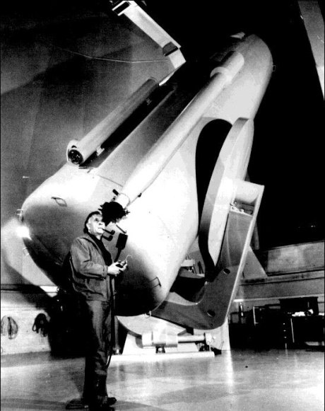 "Edwin Hubble using the 48"" Schmidt Telescope"