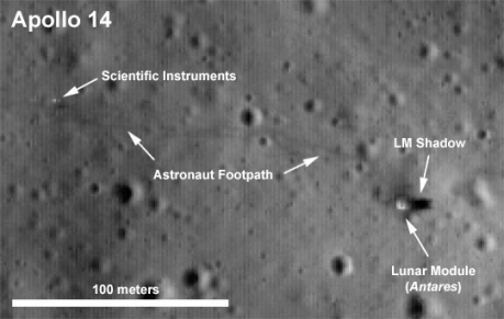 Apollo 14 Site showing foot path and instruments