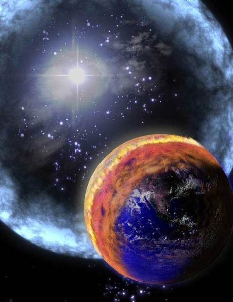 Illustration of a gamma ray burst hitting a planet like Earth.
