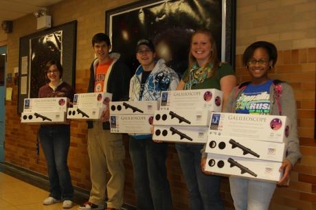 Hannah, Bob, Josh, Julia, and Tiandra with telescopes for schools