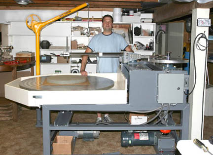 Mike Lockwood and his mirror grinding machine